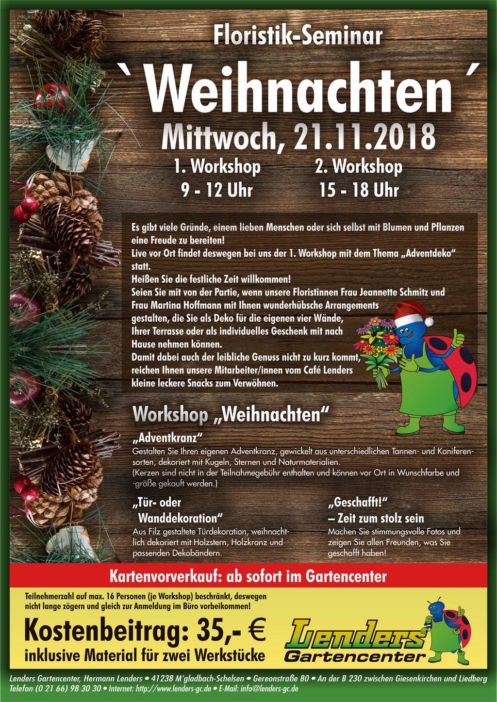 1 Weihnachten.1 Floristik Seminar Weihnachten Lenders Gartencenter